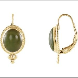 Jewelry - 14K Yellow Gold Victorian Jade Earrings